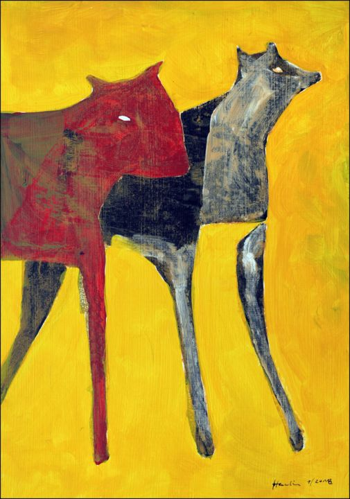 Red Dog - Painting,  50x35x0.3 cm ©2018 by Jiri Havlik -                                                            Contemporary painting, Other, Animals, dog, red, black, animal, yellow, havlik
