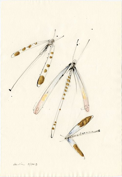 Dragonflies - Drawing,  42x29x0.1 cm ©2018 by Jiri Havlik -                                                            Contemporary painting, Paper, Animals, dragonfgly, insect, bugs, animal, nature, wings