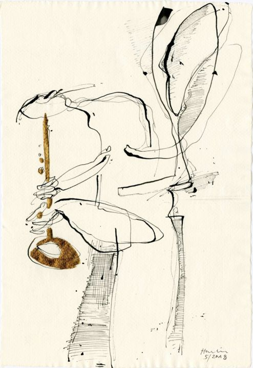 Musician - Drawing,  42x29x0.1 cm ©2018 by Jiri Havlik -                                                            Contemporary painting, Paper, Music, music, gold, drawing, havlik