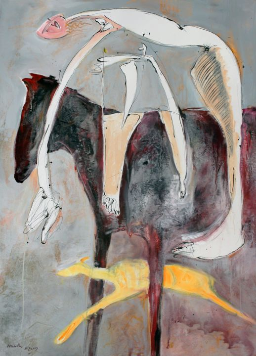 Yellow Dog - Painting,  63x45.3x0.8 in, ©2019 by Jiri Havlik -                                                                                                                                                                                                                                                                                                                                                                                                                                                                                                                                                                                                                                                                                                                              Expressionism, expressionism-591, Animals, Dogs, Horses, People, Women, horse, animal, dog, yellow, woman, drawing, ink, havlik