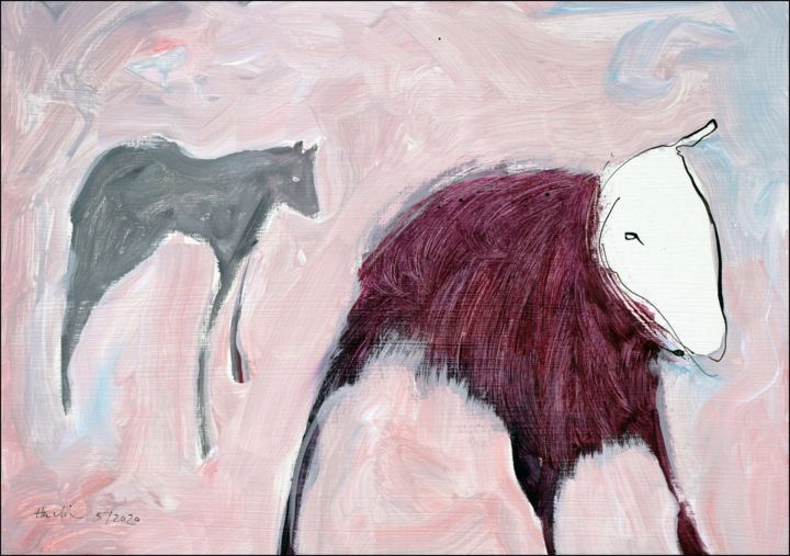 A Dream About Animals - Painting,  13.8x19.7x0.1 in, ©2020 by Jiri Havlik -                                                                                                                                                                                                                                                                                                                                                                                                                                                                                                  Expressionism, expressionism-591, Animals, animals, drawing, ink, white, red, havlik, dream