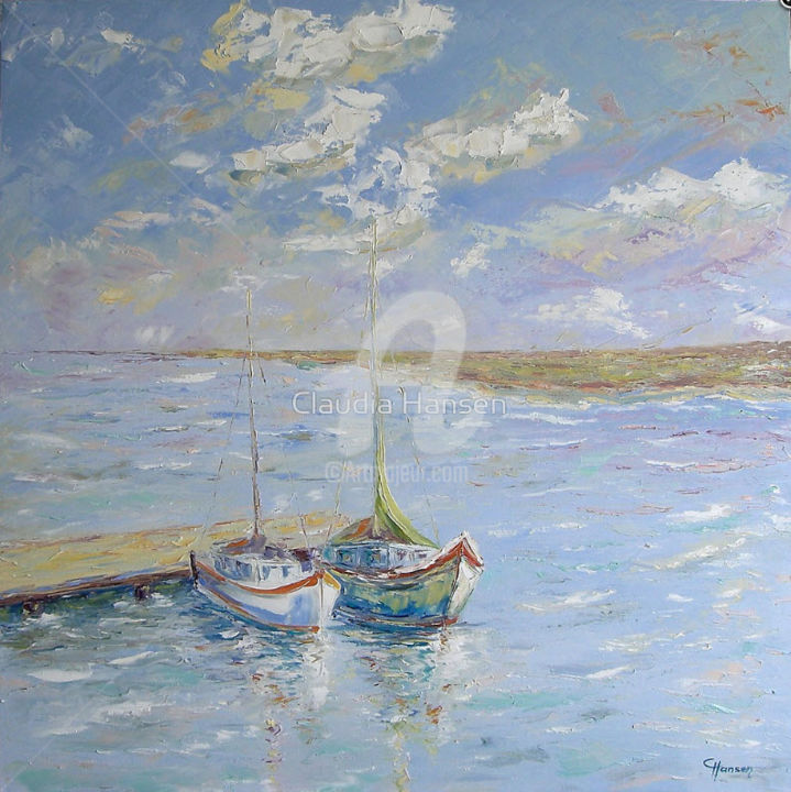 """Boats at the landing stage"" - Painting,  31.5x31.5x0.8 in, ©2016 by Claudia Hansen -                                                                                                                                                                                                                                                                                                                                                                                                                                                                                                                                                                                                                                                                                  Impressionism, impressionism-603, Seasons, Landscape, Nature, Boat, Seascape, Landschaft, Sonne, Frühjahr, Impressionismus, Impasto, Spachtelarbeit, See"