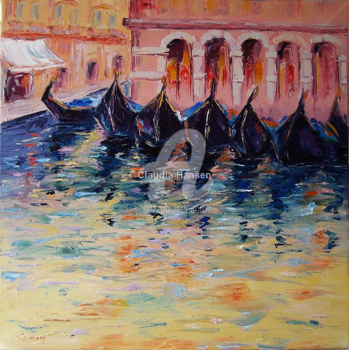 """""""Evening mood in Venice"""" - Painting,  23.6x23.6x0.8 in, ©2016 by Claudia Hansen -                                                                                                                                                                                                                                                                                                                                                                                                                                                                                                                                                                                                                                                                                                                              Expressionism, expressionism-591, Seasons, Landscape, Light, Architecture, Love / Romance, Stadt, Venedig, Gondeln, Knanal, Impressionismus, Spachtelarbeit, Romantik, Expressionismus"""