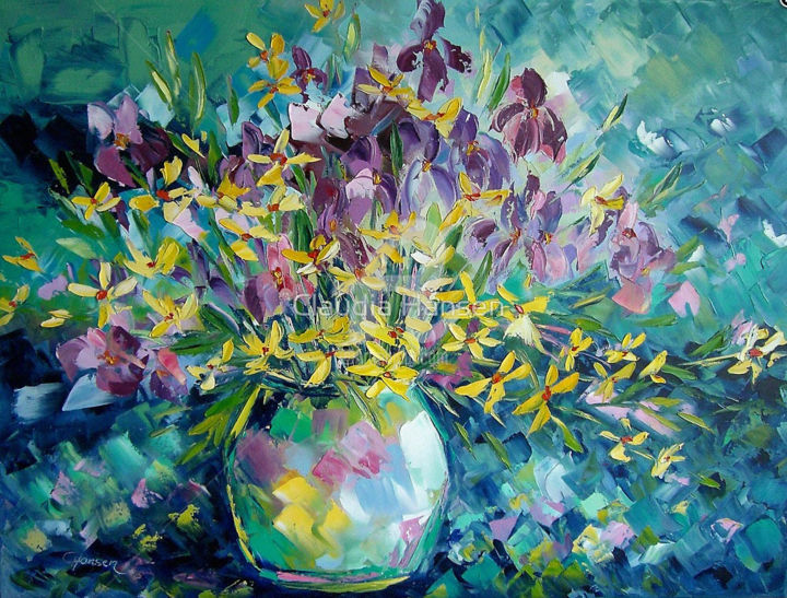 """Splendour of flowers"" - Painting,  23.6x31.5x0.8 in, ©2015 by Claudia Hansen -                                                                                                                                                                                                                                                                                                                                                                                                                                                                                                                                                                                          Impressionism, impressionism-603, Flower, Seasons, Light, Love / Romance, Still life, Blumen, Spachteltechnik, Ölmalerei, Impressionismus, Impasto"