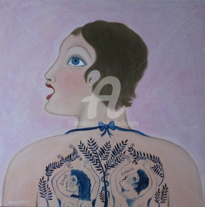 FREEDOM TATOO - Painting,  70x70x2 cm ©2017 by CLAiRe -                                                                                                            Outsider Art, Figurative Art, Naive Art, Canvas, Women, Nude, Portraits, Adam, Eve, serpent, arbre, tatouage, noeud, bleu, rose, femme, profil, visage, dos, nu, portrait, cheveux courts, tatouée, claire duquène, art naïf, art figuratif, naïf contemporain, peinture de corps, peinture corporelle, naïve