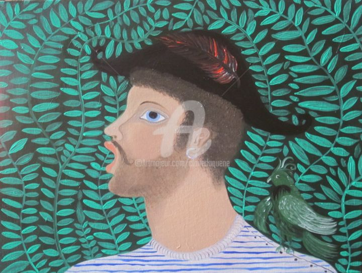 PIRATE DANS LA JUNGLE - Painting,  30x40x2 cm ©2014 by CLAiRe -                                                                    Naive Art, Outsider Art, Figurative Art, People, pirate, perroquet, vert, visage, naïve, naïf, feuillages