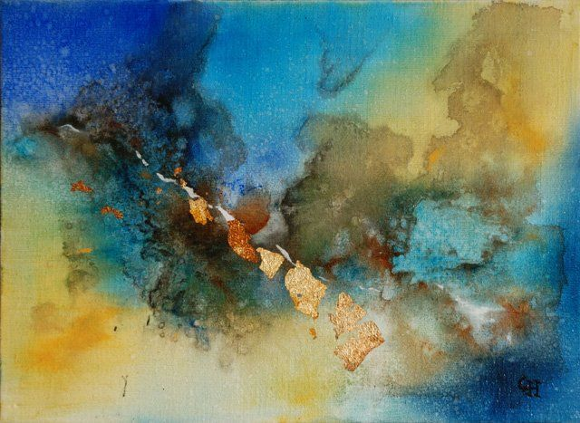 FORCE VIVE - Painting,  9.5x13 in, ©2009 by Claire Hamant -                                                                                                                                                                          Abstract, abstract-570, Tableau Abstrait - Force Vive