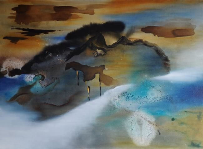 ENTRE TERRE ET MER - Painting,  28.7x39.4 in, ©2010 by Claire Hamant -                                                                                                                                                                          Abstract, abstract-570, Peinture Abstraite - Entre Terre et Mer