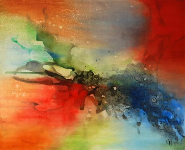 Feu Follet - Painting,  31.9x39.4 in, ©2011 by Claire Hamant -                                                                                                                                                                          Abstract, abstract-570, Peinture Abstraite - Feu Follet