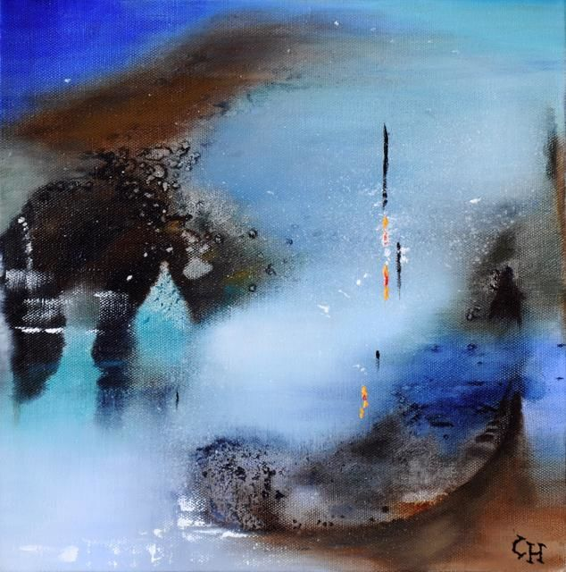 En Attente - Painting,  11.8x11.8 in, ©2011 by Claire Hamant -                                                                                                                                                                          Abstract, abstract-570, Peinture Abstraite - En Attente