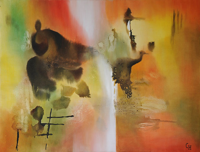 ALLIANCE - Peinture,  35,4x45,7 in, ©2014 par Claire Hamant -                                                                                                                                                                          Abstract, abstract-570, Abstraction lyrique