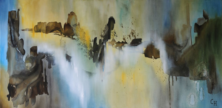 ETHNIQUE - Painting,  23.6x47.2 in, ©2015 by Claire Hamant -                                                                                                                                                                          Abstract, abstract-570, Abstraction lyrique