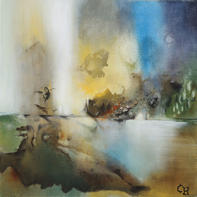 INTERLUDE - Peinture,  11,8x11,8 in, ©2014 par Claire Hamant -                                                                                                                                                                          Abstract, abstract-570, Abstraction lyrique