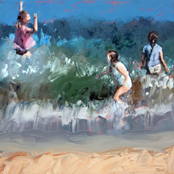 """Painting titled """"Braving The Waves IV"""" by Claire Mccall, Original Art, Oil"""