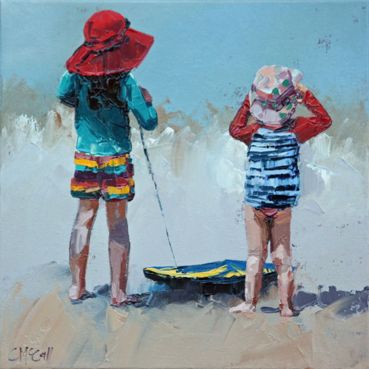 """Painting titled """"Watching The Waves…"""" by Claire Mccall, Original Art, Oil"""
