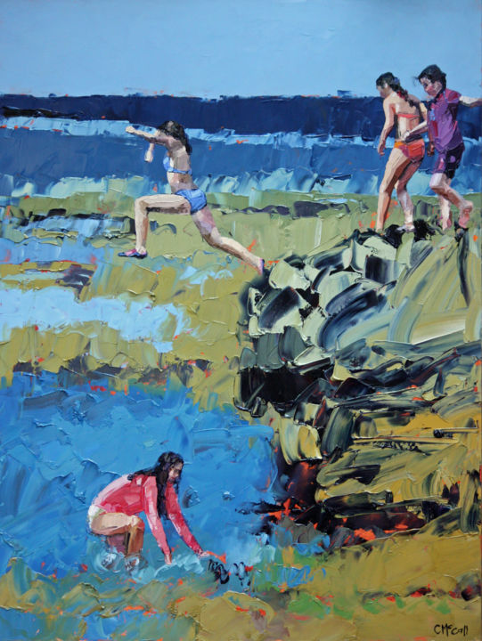 """Painting titled """"rockpool-jumping-cl…"""" by Claire Mccall, Original Art, Oil"""