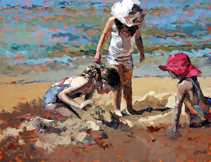 """Painting titled """"Sandcastles IV - Li…"""" by Claire Mccall, Original Art, Oil"""