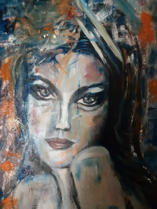 all of me - Painting,  35.4x23.6x1.2 in, ©2019 by Clara Macovei -                                                                                                                                                                                                                                                                                                                                                              Abstract, abstract-570, Abstract Art, beautiful eyes, intense look, woman, abstract
