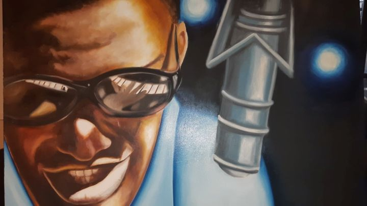 Ray - Painting,  39.4x23.6 in, ©2018 by Clara Macovei -                                                                                                                                                                                                                          Figurative, figurative-594, Pop Culture / celebrity, Ray Charles