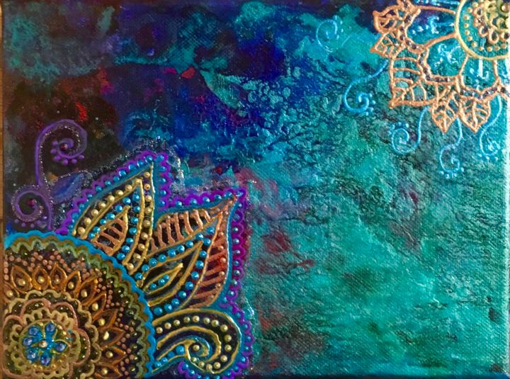 inspiration Mehndi - Painting,  7.1x9.5 in ©2019 by Clarazen -                                                                                Abstract Art, Contemporary painting, Abstract Art, Colors, World Culture, psychedelique, hippie, couleurs, mandalas
