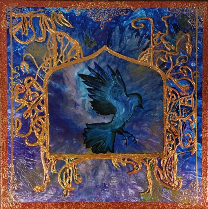 Cage dorée - Painting,  23.6x23.6 in ©2019 by Clarazen -                                                                                                                                        Abstract Art, Contemporary painting, Surrealism, Symbolism, Animals, Abstract Art, Fairytales, Fantasy, Gothic, Birds