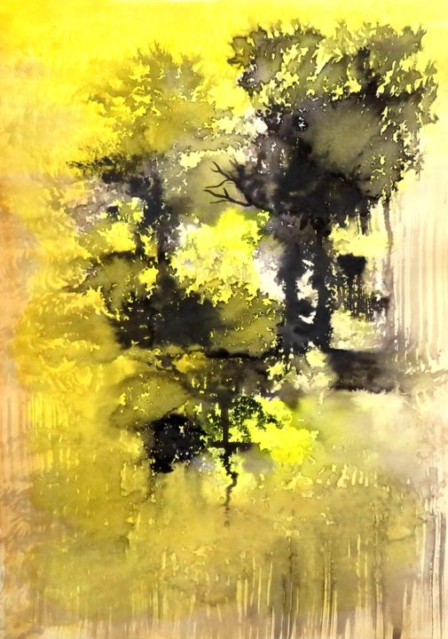 L'ombre intruse - paysage imaginaire - #artissupportpledge - Painting,  13.9x9.8 in, ©2020 by Clau Redier-Clément -                                                                                                                                                                                                                                                                                                                                                                                                                                                                                                                                                                                                                                                                                                                                                                                                                                                                                                                                                                                                                                                                                                                                                                                                                                                                              Expressionism, expressionism-591, Tree, Colors, Light, Landscape, Spirituality, ClauRedier Clement, auvergne-rhône-alpes, art contemporain, peinture intuitive, encres mixtes, encre de chine, aquarelle, jaune et noir, taches, contrastes, ombres et lumières, arbres, forêt, envoi soigné, cadeau unique, oeuvre authentique, certificat d'authenticité, maison des artistes, made in France, #artistsupportpledge