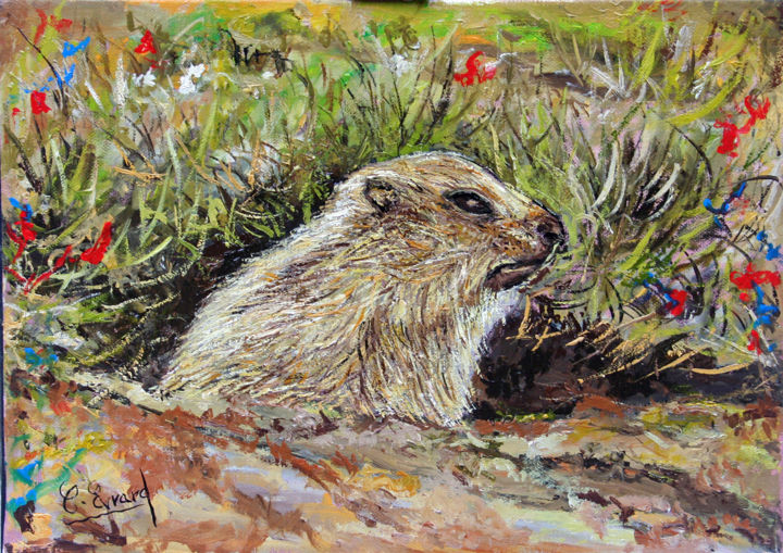 Le marmotton - Painting,  8.7x13x0.6 in, ©2016 by Claude Evrard -                                                                                                                                                                          Figurative, figurative-594, Animals