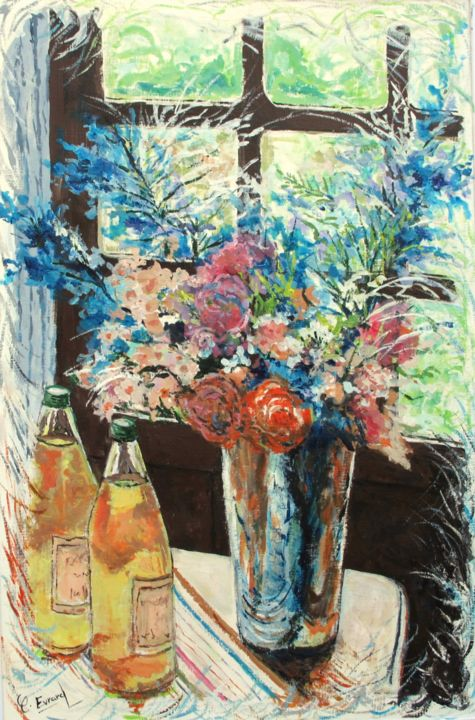 NOTES FLORALES - Painting,  31.5x23.6 in, ©2018 by Claude Evrard -                                                                                                                                                                                                                          Impressionism, impressionism-603, Flower, Fleur