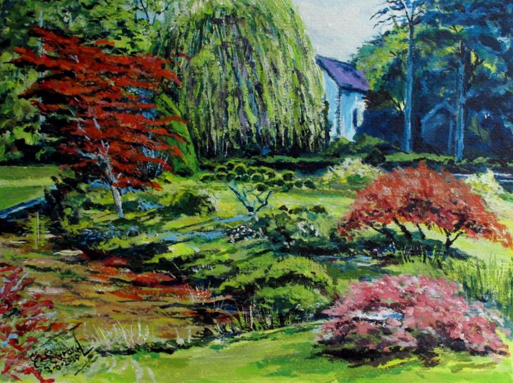 Jardin à Courances - Painting,  15.8x19.7 in, ©2020 by Claude Evrard -                                                                                                                                                                          Impressionism, impressionism-603, Garden