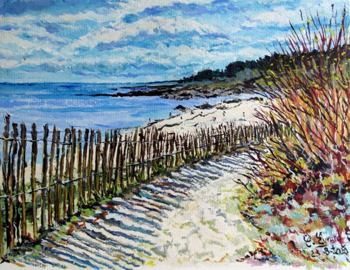 Vers la plage (Sud Finistère) - Painting,  15.8x19.7 in, ©2020 by Claude Evrard -                                                                                                                                                                                                                          Impressionism, impressionism-603, Seascape, Marine