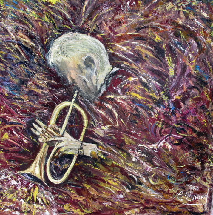 TROMPETISTE - Painting,  50x50 cm ©2013 by Claude Evrard -                                            Impressionism, Performing Arts, Musicien
