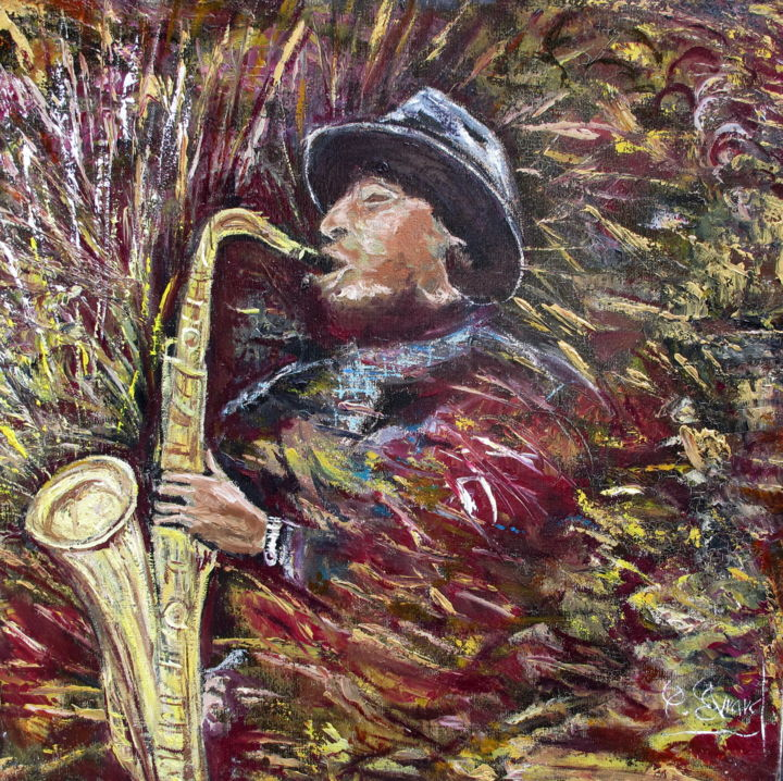 SAXO - Painting,  19.7x19.7 in, ©2013 by Claude Evrard -                                                                                                                                                                                                                          Impressionism, impressionism-603, Performing Arts, Musicien