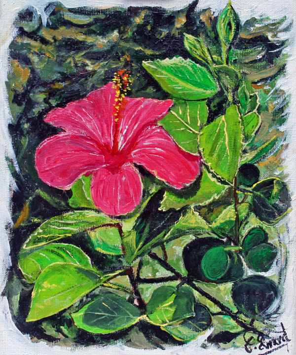 IBISCUS 2 - Painting,  27x22 cm ©2014 by Claude Evrard -                                            Figurative Art, Flower, Fleur