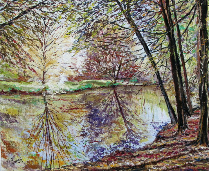 REFLETS D'AUTOMNE - Painting,  19.7x24 in, ©2013 by Claude Evrard -                                                                                                                                                                                                                          Impressionism, impressionism-603, Landscape, Nature