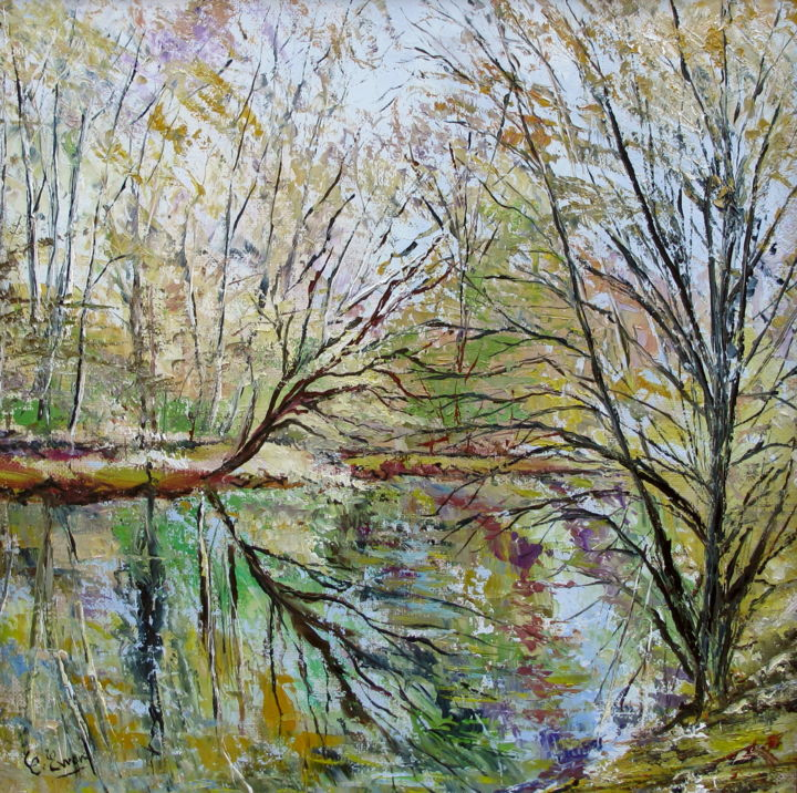 REVERIES - Painting,  15.8x15.8 in, ©2014 by Claude Evrard -                                                                                                                                                                                                                          Impressionism, impressionism-603, Nature, Riviere