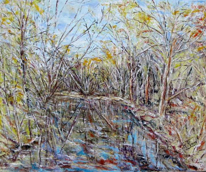 DOUCEURS AUTOMNALES - Painting,  23.6x28.7 in, ©2011 by Claude Evrard -                                                                                                                                                                                                                                                                      Impressionism, impressionism-603, Nature, automne, Rivière