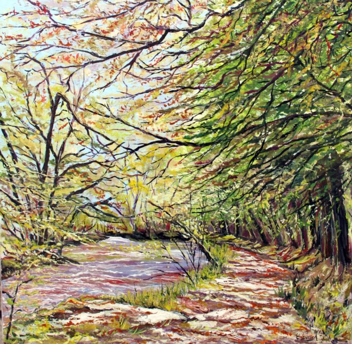 Promenade au bois d'Amour (Pont-Aven) - Painting,  23.6x23.6 in, ©2015 by Claude Evrard -                                                                                                                                                                                                                          Impressionism, impressionism-603, Nature, Nature