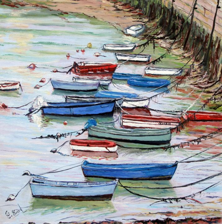 Les barques concarnoises - Painting,  15.8x15.8 in, ©2015 by Claude Evrard -                                                                                                                                                                                                                          Figurative, figurative-594, Boat, Marines