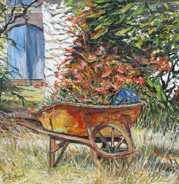 La brouette fleurie - Painting,  15.8x15.8 in, ©2015 by Claude Evrard -                                                                                                                                                                                                                          Impressionism, impressionism-603, Flower, Fleurs