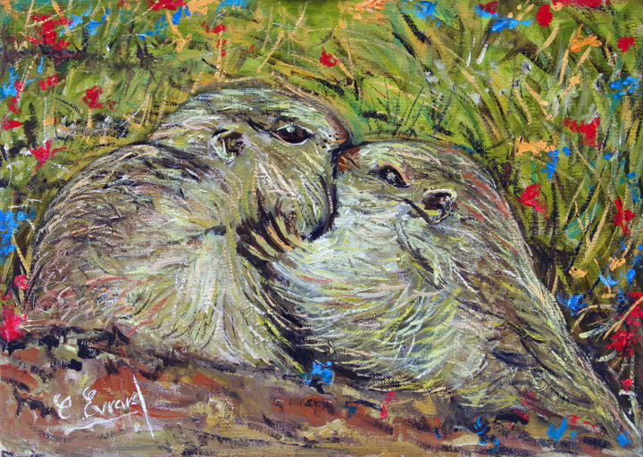 Les deux marmottes - Painting,  8.7x13x0.6 in, ©2016 by Claude Evrard -                                                                                                                                                                                                                          Figurative, figurative-594, Animals, Marmottes