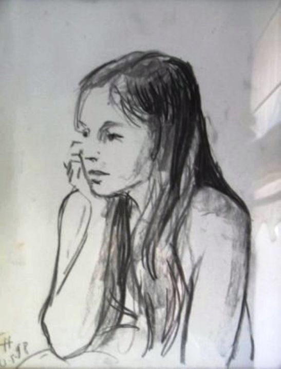 """Drawing titled """"A young girl"""" by Claude Hardenne, Original Art, Pencil"""