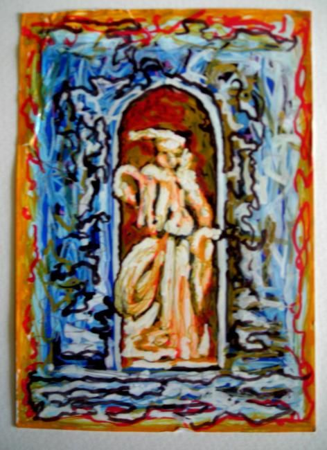 fontaine - Painting,  5.5x4.3 in, ©2011 by Claude Poisson -
