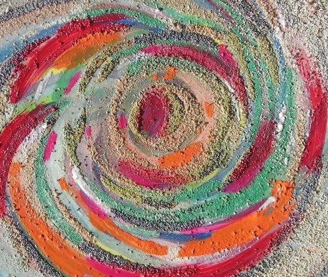 spirale2 - Painting,  15.8x19.7 in, ©2012 by Claude Poisson -                                                                                                                                                                          Abstract, abstract-570, mouvement energie collage