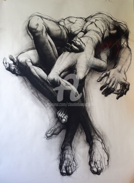 GRAND DESSIN II - 210x150 cm - Drawing,  210x150 cm ©2017 by Claude DUVAUCHELLE -                                                                        Expressionism, Paper, Body, Men, Grand, Dessin, corps, humain, Pierre noire, Homme, expressionniste, Anatomie