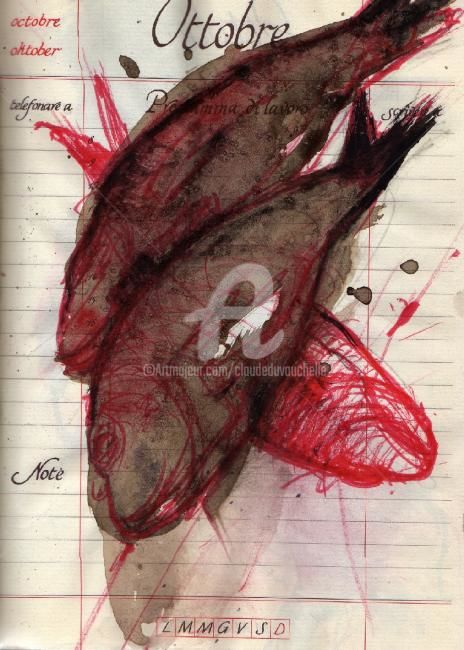 Diario 310 (poissons rouges) - Drawing,  9.5x6.7 in, ©2008 by Claude Duvauchelle -                                                                                                              Colors, poissons aquarellés