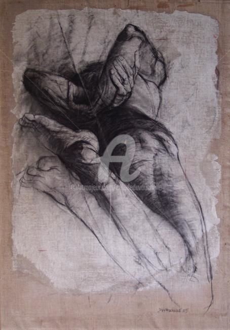 Etude - Drawing,  45.7x31.9 in, ©2005 by Claude Duvauchelle -                                                              corps nu dessin fusain