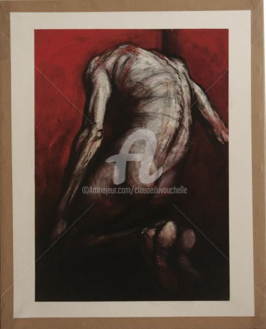 Dos Au Fond Rouge - Painting,  19.7x15.8 in, ©2012 by Claude Duvauchelle -                                                                                                              Other, Body