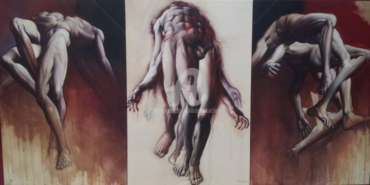GRAND TRIPTYQUE- Acrylique-sur-toiles/195x390cm - Painting,  195x390 cm ©2013 by Claude DUVAUCHELLE -                                                            Contemporary painting, Canvas, Body, Très grand Triptyque, Grand format, Corps expressionnistes, Human body, Acrylic on canvas, Corps humain, Nu expressionniste, Clair-obscur