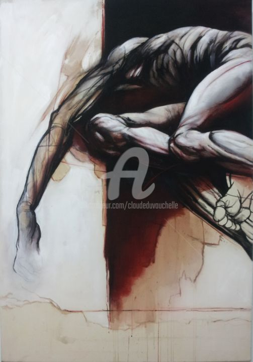 CORPS AU FOND NOIR- Acrylique sur toile- 130x89cm - Painting,  130x89 cm ©2014 by Claude DUVAUCHELLE -                                                            Contemporary painting, Canvas, Body, Peinture contemporaine, Acrylique sur toile, Corps humain, Nu expressionniste, Grand format, Human body, Acrylic on canvas, Corps expressionniste, Clair-obscur