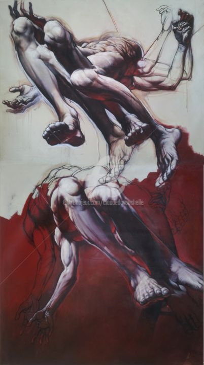GRAND DIPTYQUE ( CORPS et AME IV) 290x160cm - Painting,  114.2x63 in, ©2014 by Claude DUVAUCHELLE -                                                                                                                                                                                                                                                                                                                                                                                                                                                                                                                                                                                          Expressionism, expressionism-591, Aerial, Body, Men, Nude, très grand format, peinture acrylique, corps humain expressionniste, peinture contemporaine, diptyque très grand format, démultiplication des corps